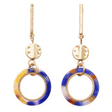 Lucite Hoop and Gold Tone Bar Dangle Statement Earrings (Blue Swirl)