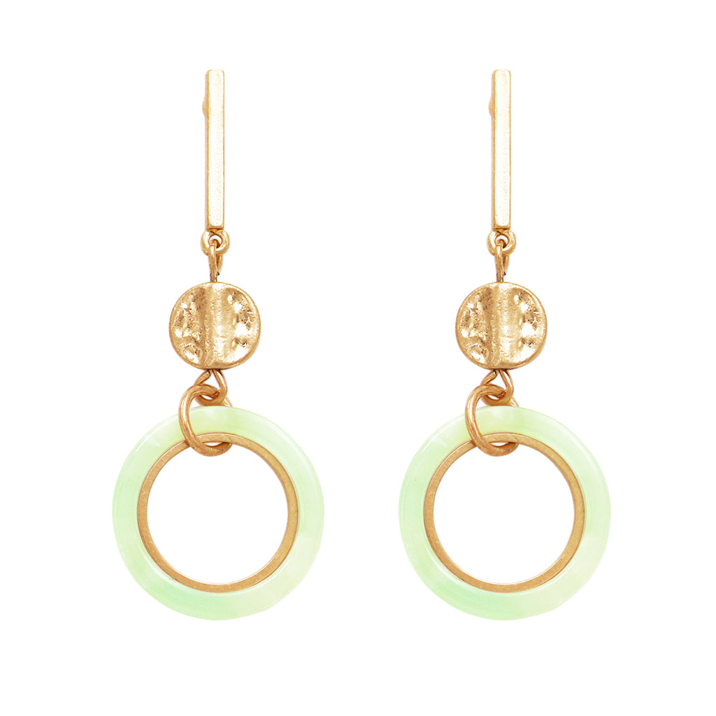 Celluloid Hoop and Gold Tone Bar Dangle Statement Earrings (Mint)