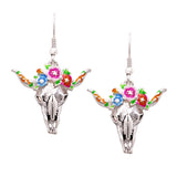 Whimsical Colorful Southwestern Steer Head Floral Charm Dangle Earrings