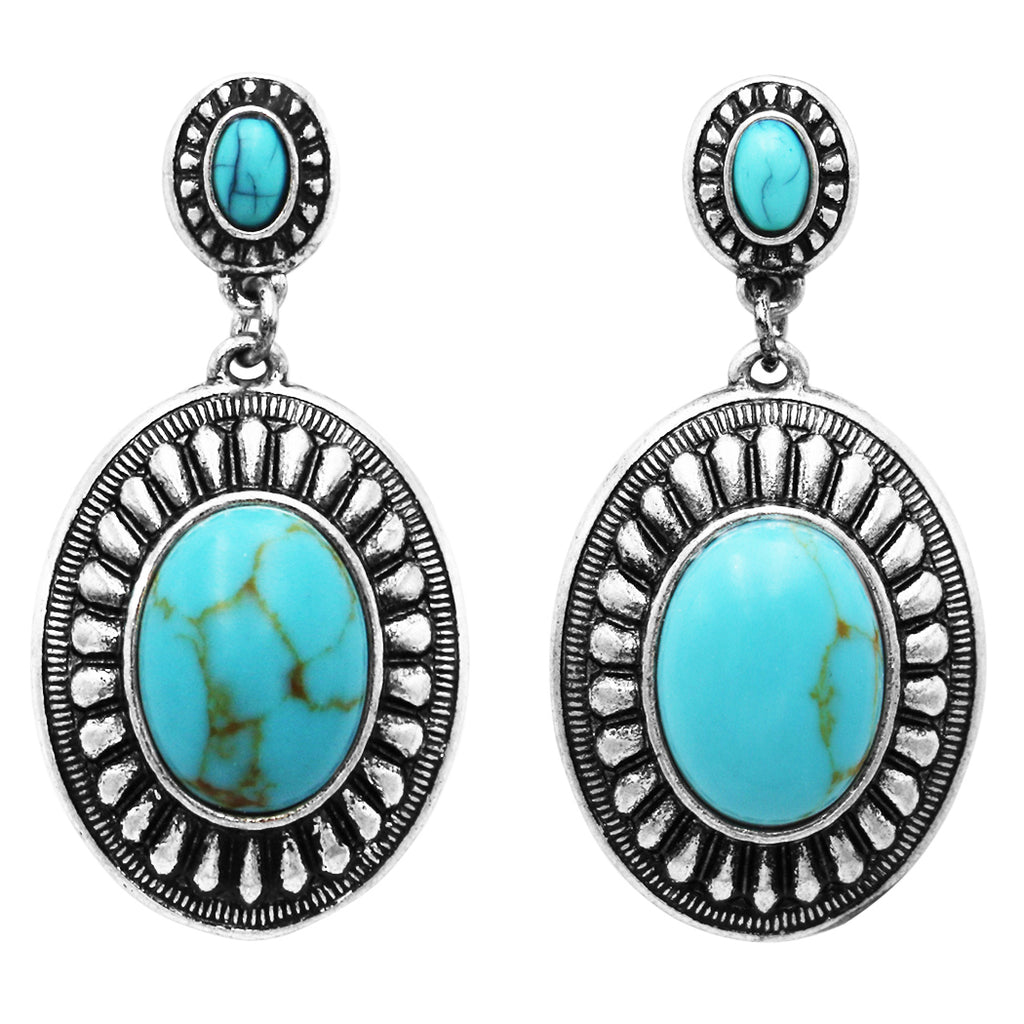Long Southwestern Double Concho Style Turquoise Drop Dangle Statement Earrings