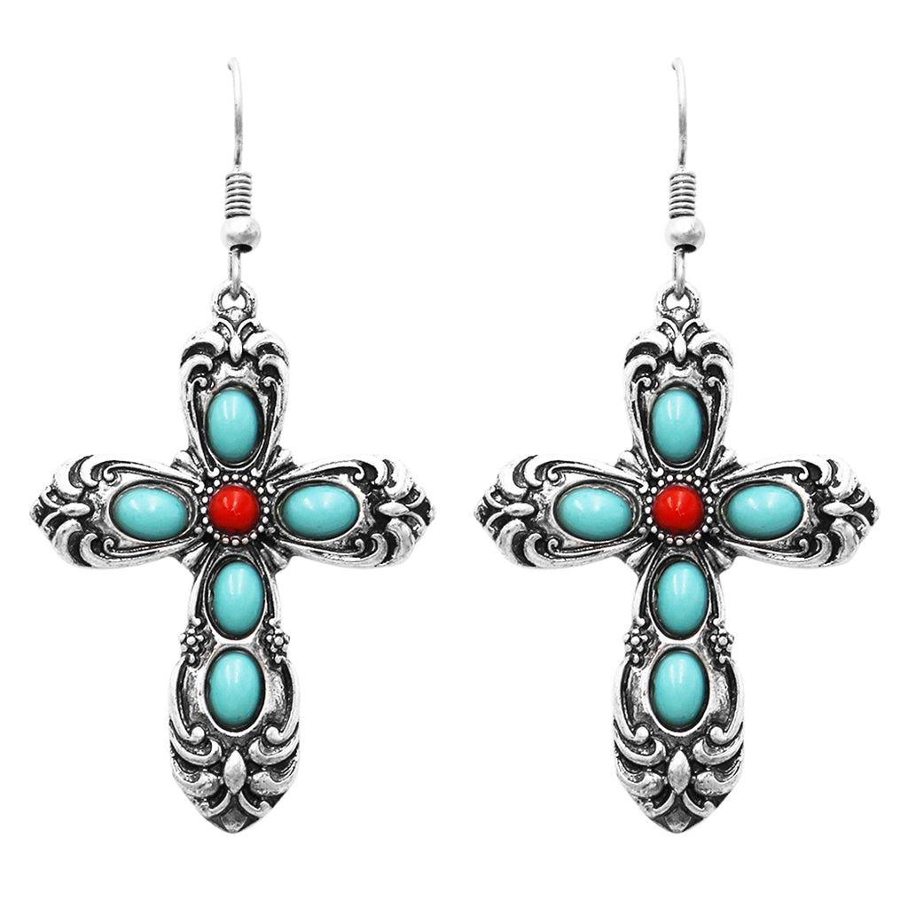 Western Style Turquoise and Red Howlite Decorative Christian Cross Religious Dangle Earrings, 2.25""