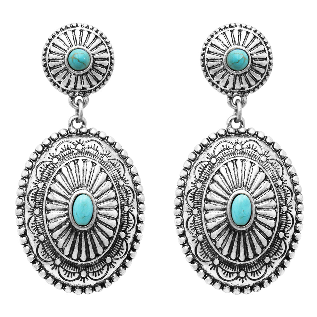 "Women's Southwestern Navajo Double Concho Style Turquoise Dangle Drop Statement Earrings, 2"" Length"