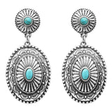 Women's Western Style Navajo Double Concho Turquoise Dangle Drop Statement Earrings, 2