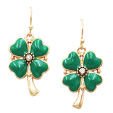 Lucky 4 Leaf Clover Shamrock St Patrick's Day Enamel Dangle Earrings