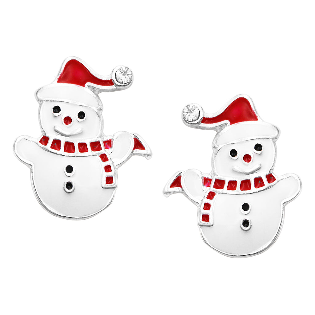 "Colorful Enamel Christmas Holiday Clip On Style Earrings, 1"" (Snowmen)"