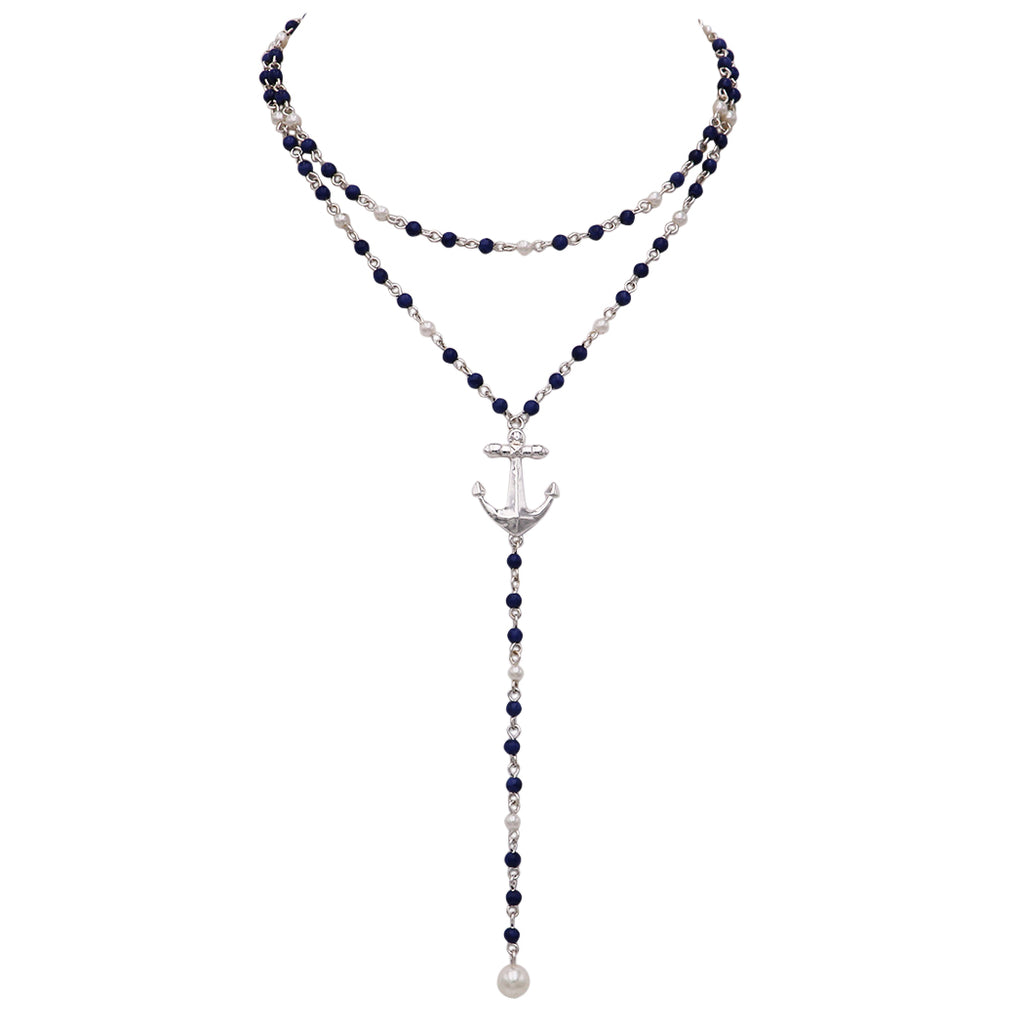 Simulated Pearl and Nautical Anchor Double Strand Y Necklace (Silver Tone/Navy)