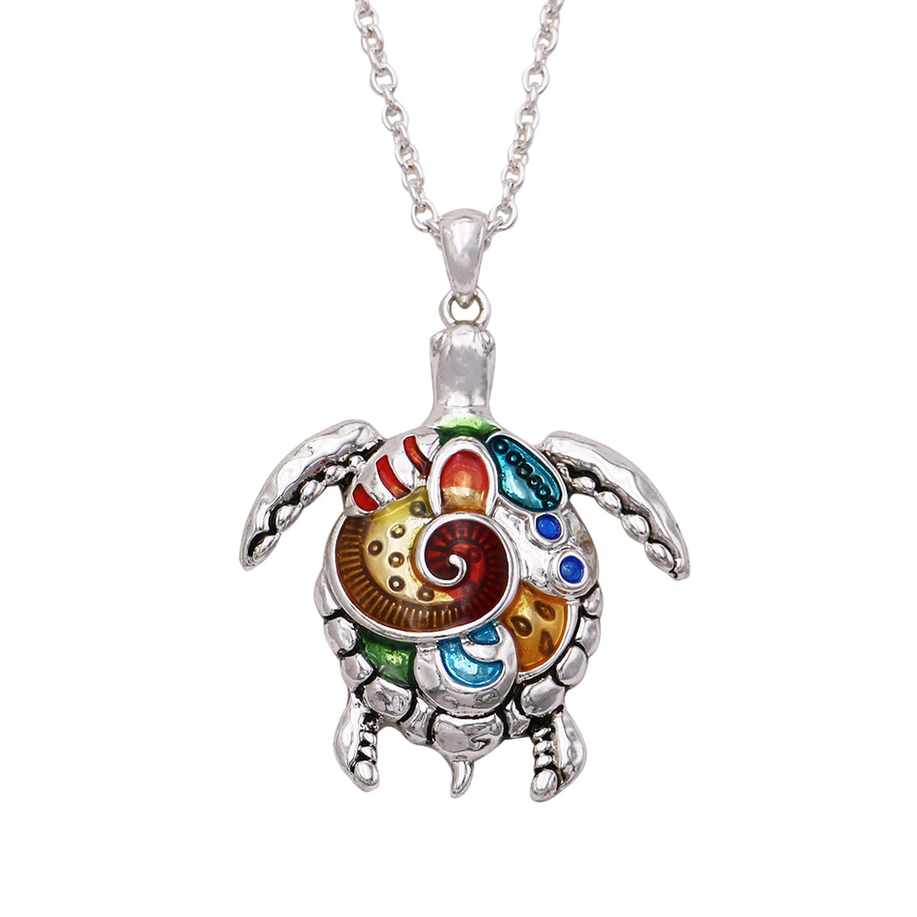 "Women's Colorful Statement Beach Theme Turtle Pendant Necklace, 32"" with 3"" Extender"