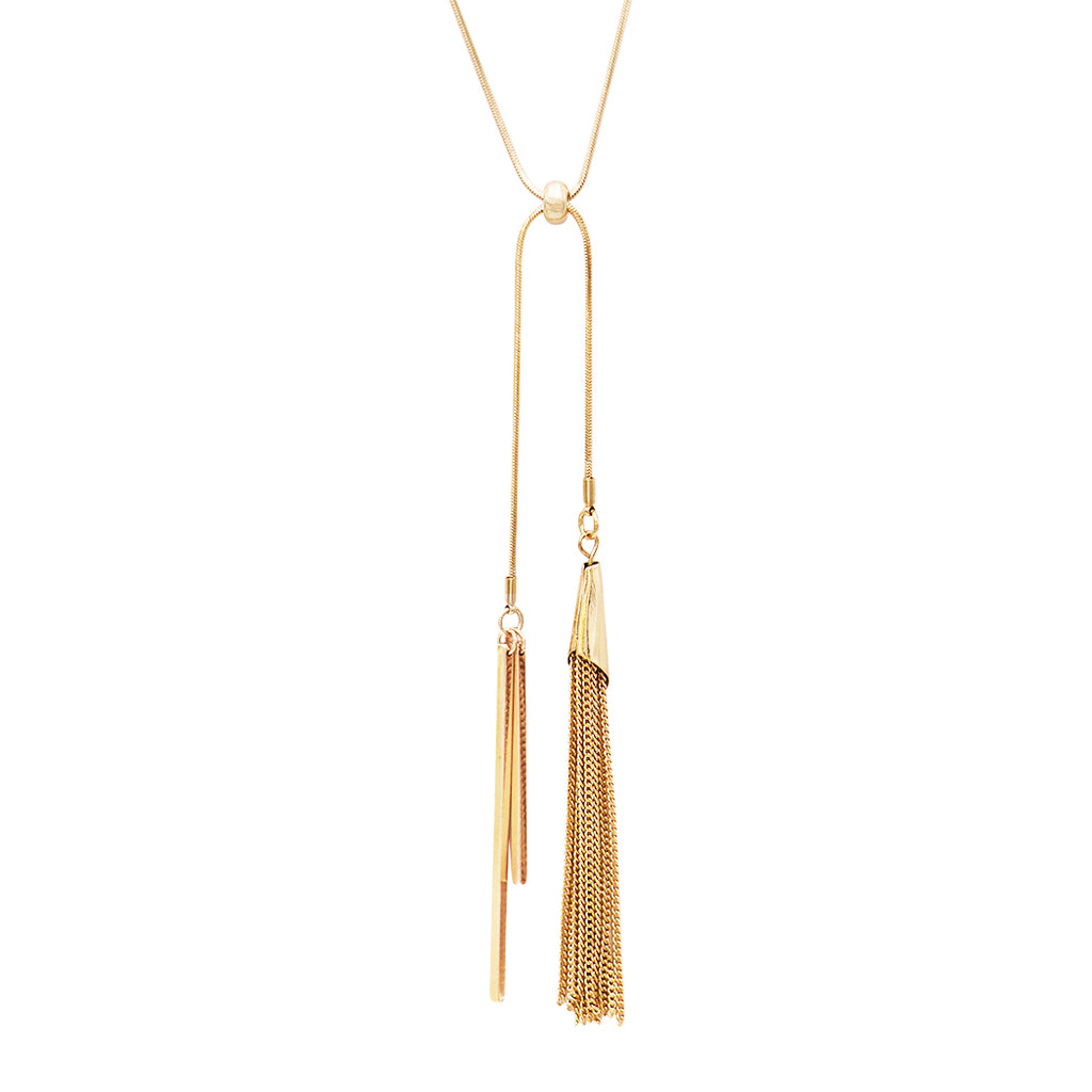 Elegant Gold Tone Double Bar and Tassel Adjustable Bolo Style Necklace