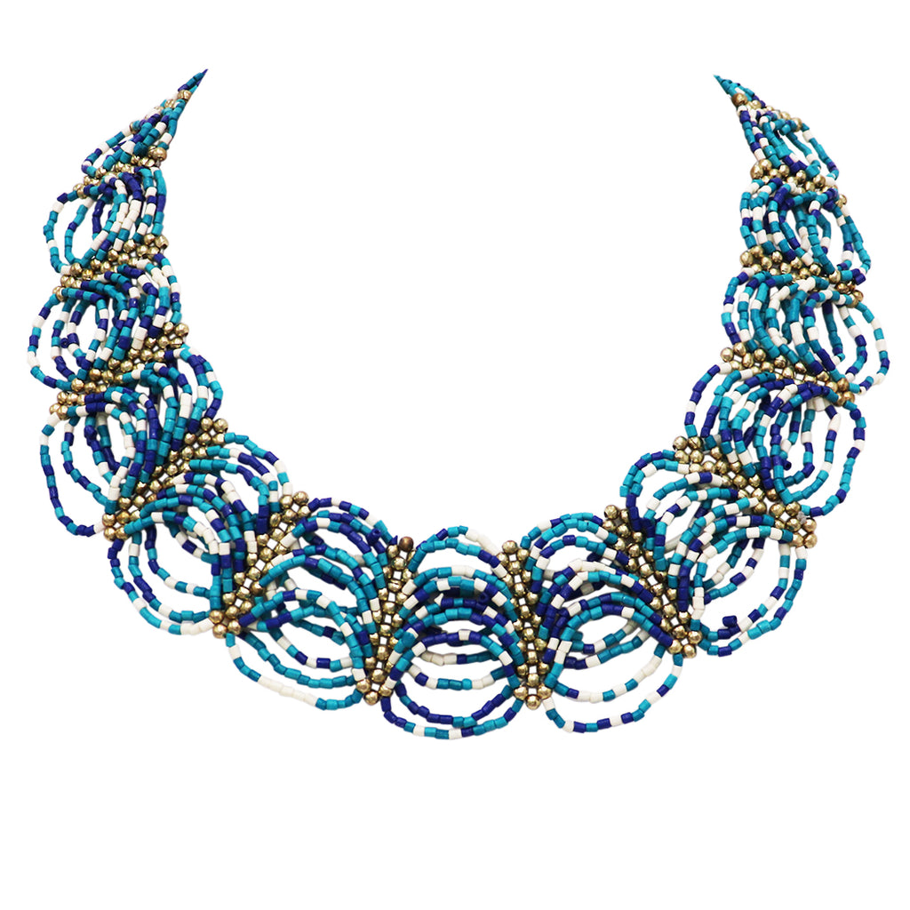 Stunning Circular Pattern Seed Bead Collar Necklace (Blue/White/Gold)