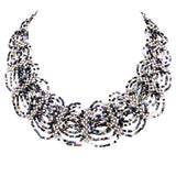 Stunning Circular Pattern Seed Bead Collar Necklace (Black/White/Silver)