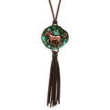 Southwestern Style Horse Pendant with Faux Suede Tassel Necklace, 30