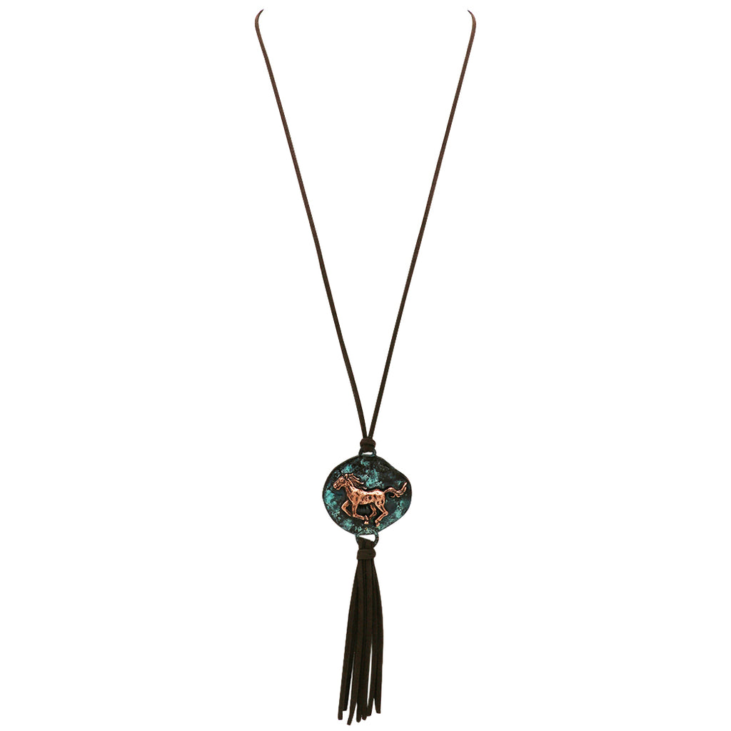 "Southwestern Style Horse Pendant with Faux Suede Tassel Necklace, 30"" to 33"" with 3"" Exte"