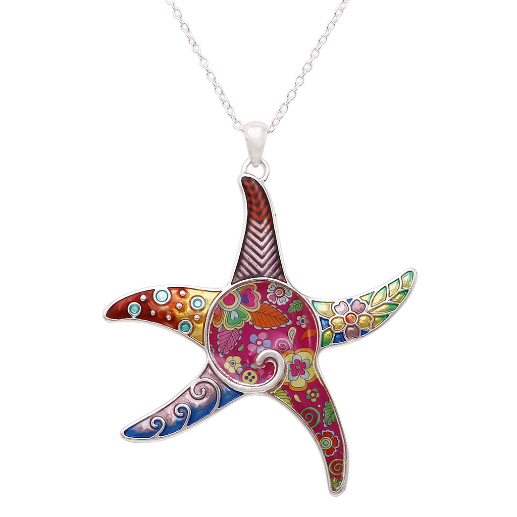 Women's Long and Colorful Mosaic Enamel Starfish Charm Pendant Necklace