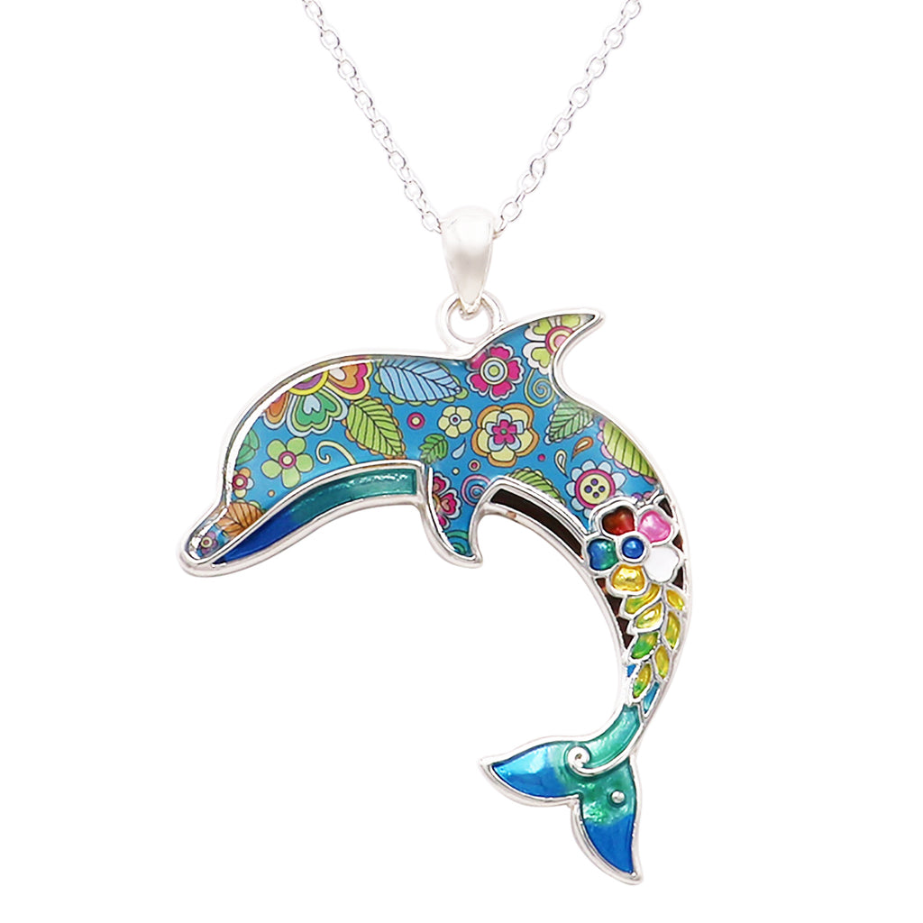 "Colorful Extra Long Mosaic Enamel Dolphin Pendant Necklace, 18"" to 21"" with 3"" Extender"
