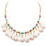 Women's Natural Dangle Cowrie Seashell on Cord and Gold Tone Chain Strand Bib Necklace 16