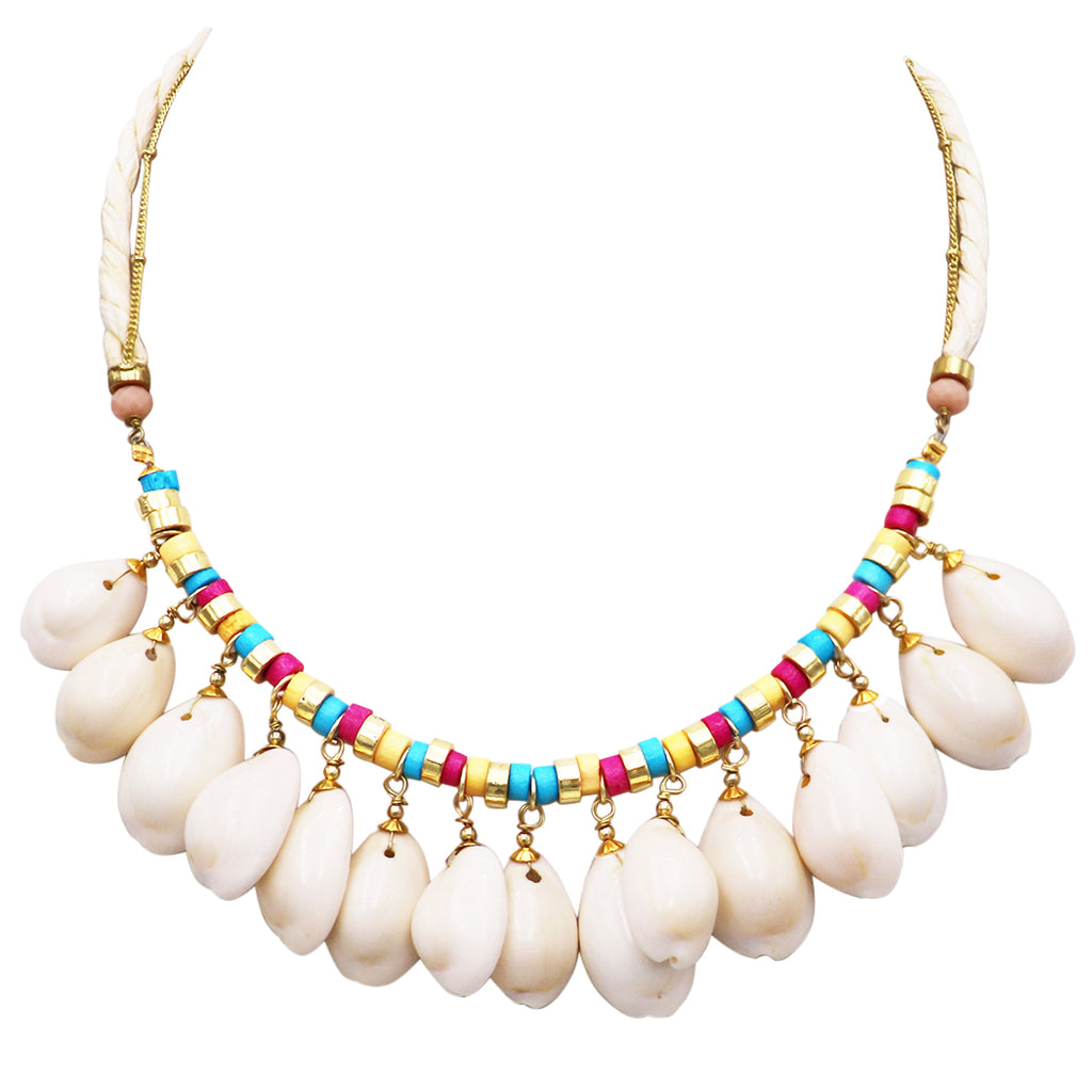 Women's Natural Dangle Cowrie Seashell on Cord and Gold Tone Chain Strand Bib Necklace