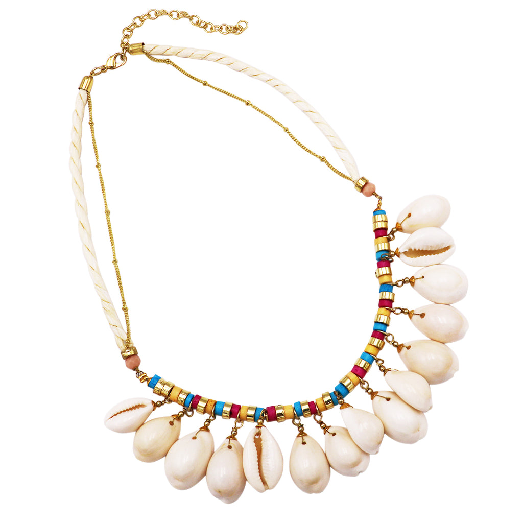"Women's Natural Dangle Cowrie Seashell on Cord and Gold Tone Chain Strand Bib Necklace 16"" to 19"" with 3"" Extender"