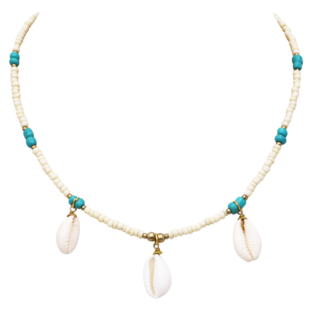 and Multi Color Bead Bib Necklace Sets Turquoise Stones Cowrie Shells