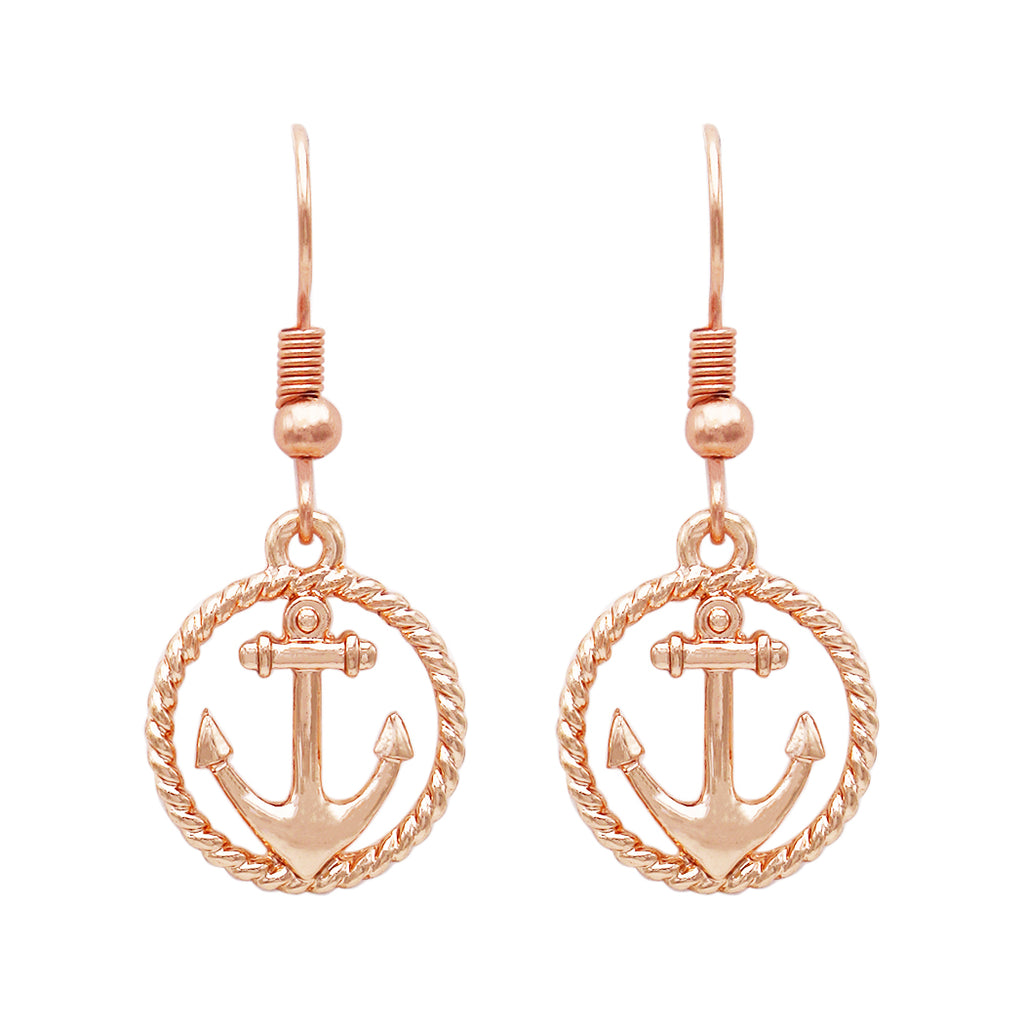 Anchor Charm with Tassel Two Tone Long Pendant Necklace and Earring Set