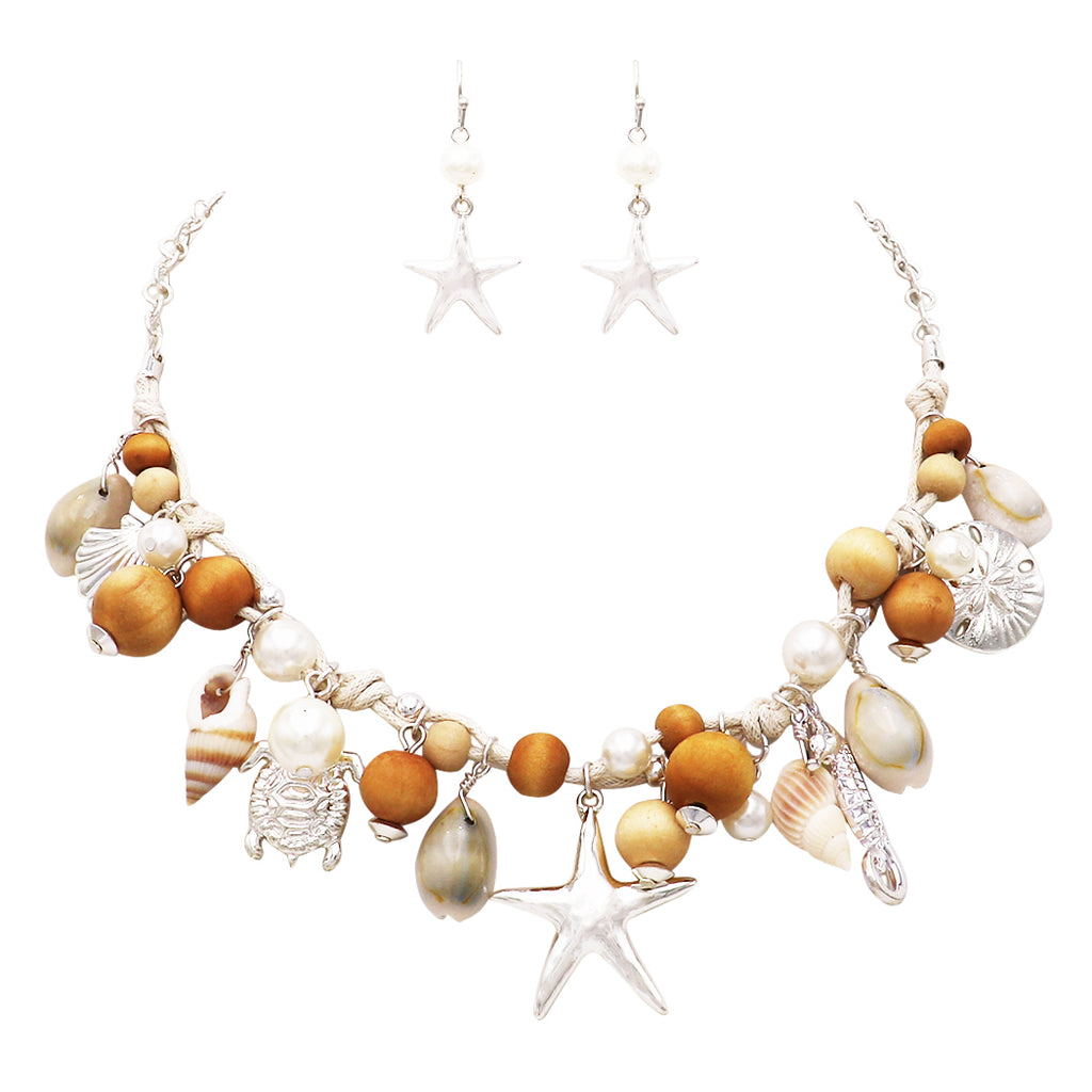 Silver Nautical Sea Life Beach Charms Necklace and Earrings Jewelry Set