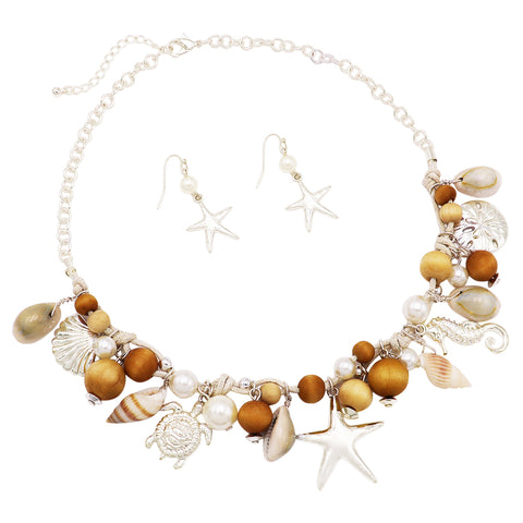 Triple Strand Nautical Sea Life with Freshwater Pearl Charm Bracelet