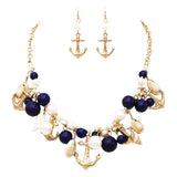 Nautical Sea Life Beach Charms Necklace and Earrings Jewelry Set