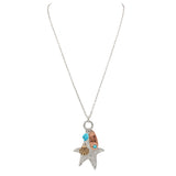 Starfish Charm Beach Pendant Long Necklace Earrings Set