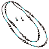 Women's Extra Long Metallic Silver Tone and Turquoise Beaded Statement Necklace and Earrings Jewelry Set …