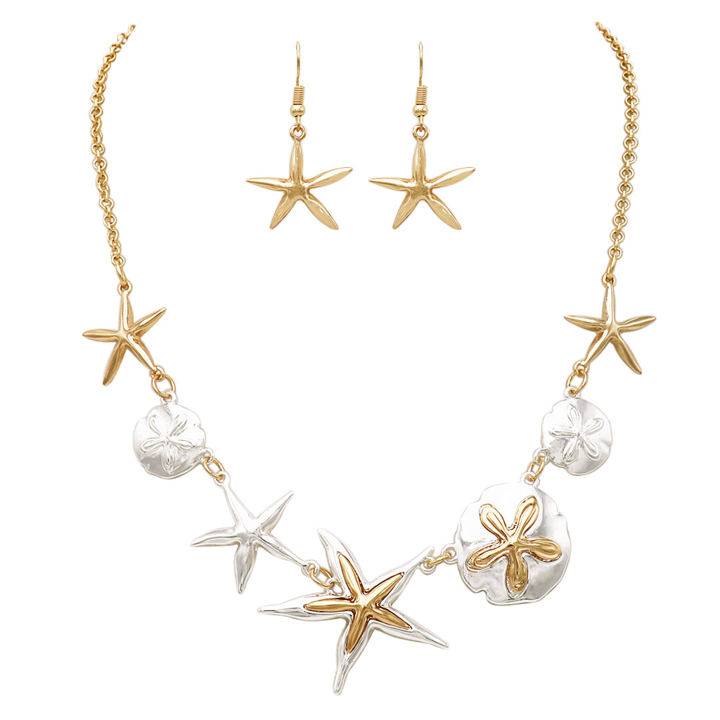 "Sea Life Two Toned Sand Dollar and Starfish Collar Necklace and Earring Jewelry Gift Set, 17"" to 20"" with 3"" extender"