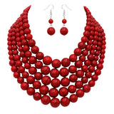 Statement Multi Strand Red Bead Collar Necklace Earring Jewelry Set, 17