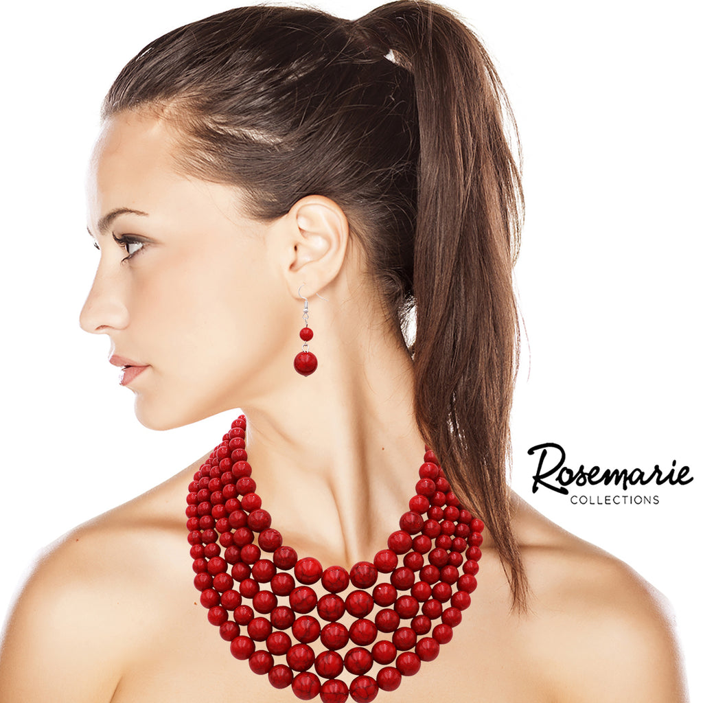 "Statement Multi Strand Red Bead Collar Necklace Earring Jewelry Set, 17"" with 3"" Extender"