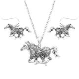 Silver Tone Statement Western Style Horse Pendant Necklace Earring Set 21