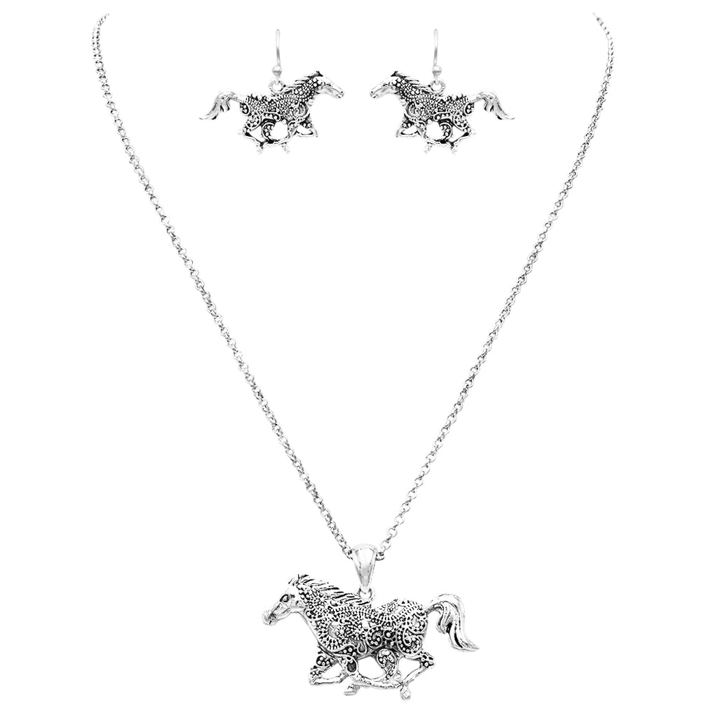 "Silver Tone Statement Western Style Horse Pendant Necklace Earring Set 21"" with 3"" extender"