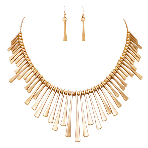 ed2c0b68c5d02f Gold Tone Bead and Bar Bib Statement Necklace and Earrings Set