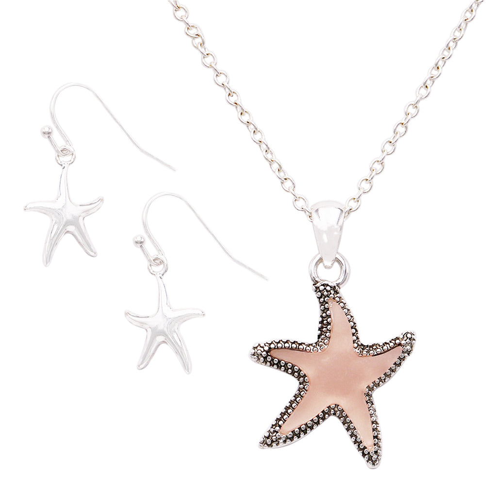 "Stunning Pink Sea Glass Starfish Pendant Necklace and Earring Jewelry Gift Set 22"" with 3""Extender"