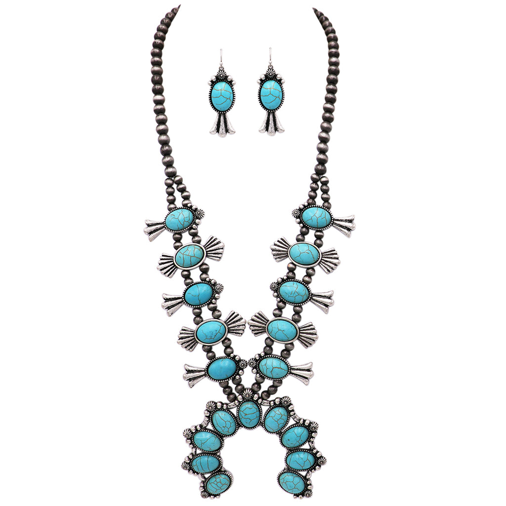 "Women's Statement Western Howlite Squash Blossom Necklace Earring Jewelry Set, 27""-30"" with 3"" Extension"