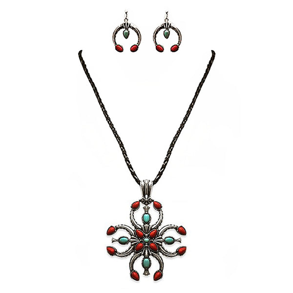 Metal Teardrop Shaped Peacock Pendant 8 Inch Leather Necklace