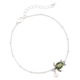 Take Me to The Beach Pearl and Enamel Charm Ankle Bracelet (Green Turtle)