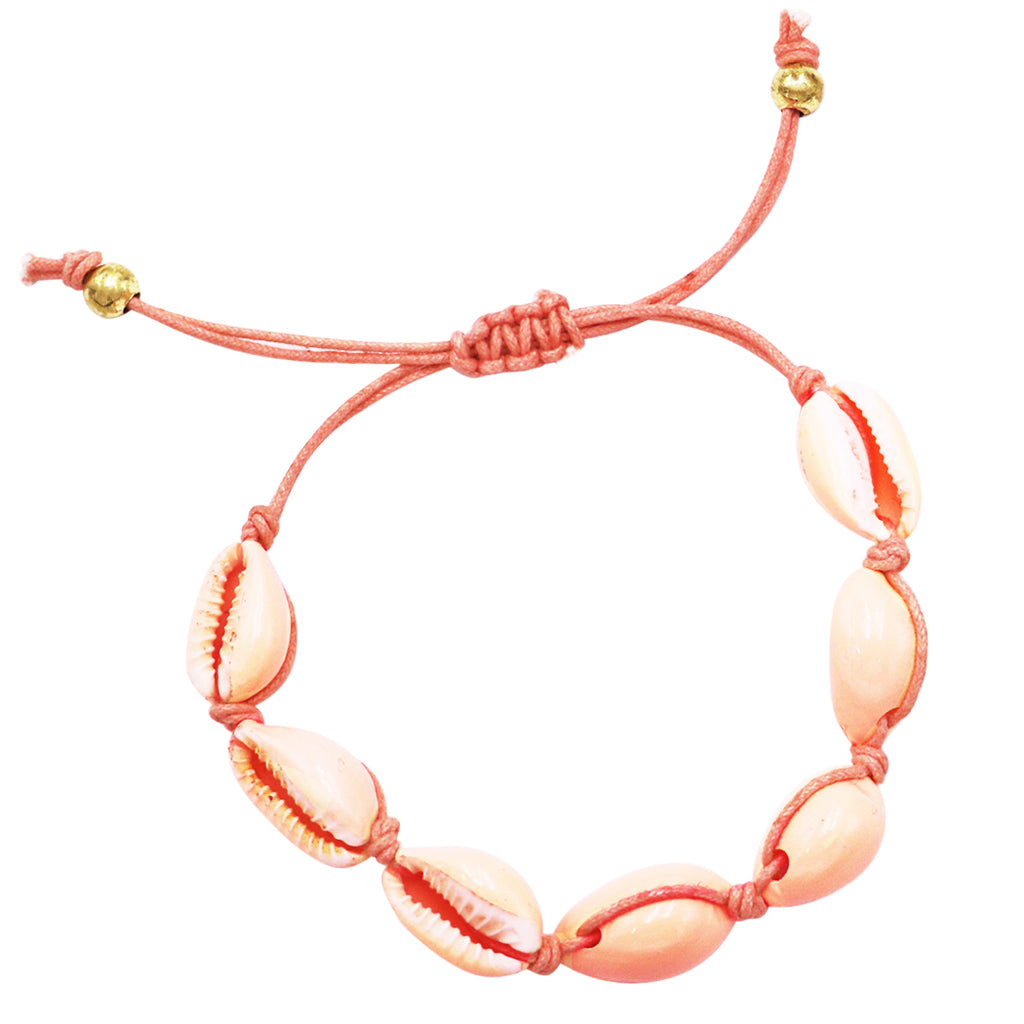 Corded Coral Colored Natural Cowrie Seashell Slide Bracelet (Bracelet Only)