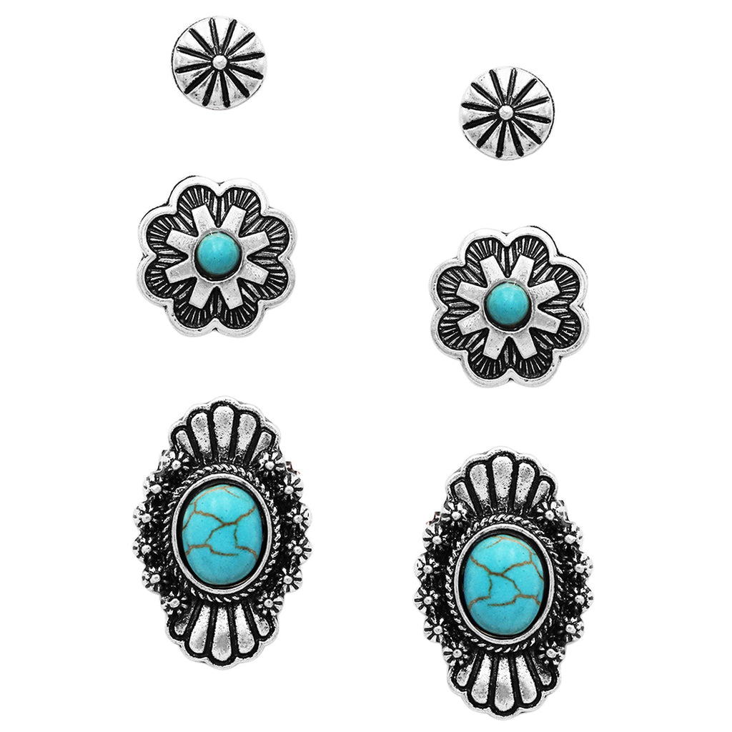 Set of 3 Pairs Western Concho Style Turquoise Natural Howlite Post Back Earrings