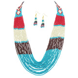 Multi Strand Seed Bead Statement Necklace and Tassel Earrings