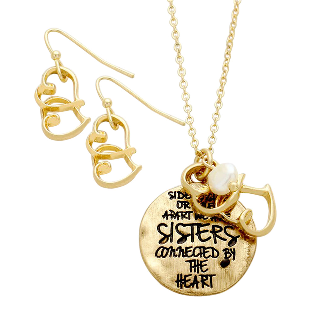 """We Are Sisters Connected By The Heart"" Charm Necklace Jewelry Set"