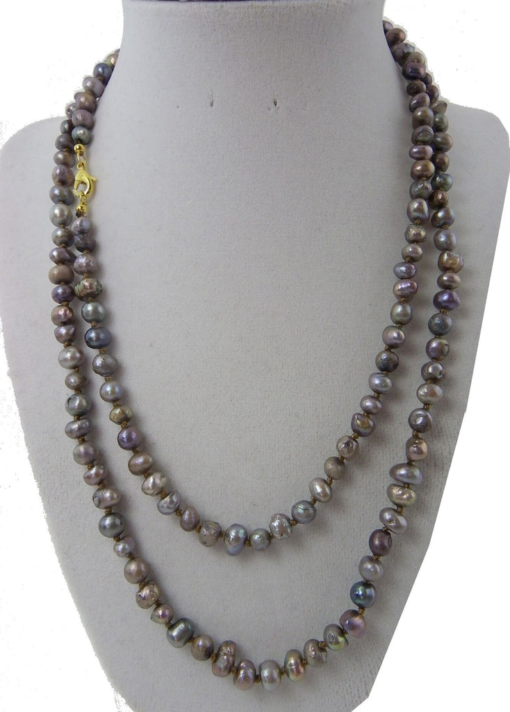 Knotted Long Fresh Water Pearl Necklace Dark Gray
