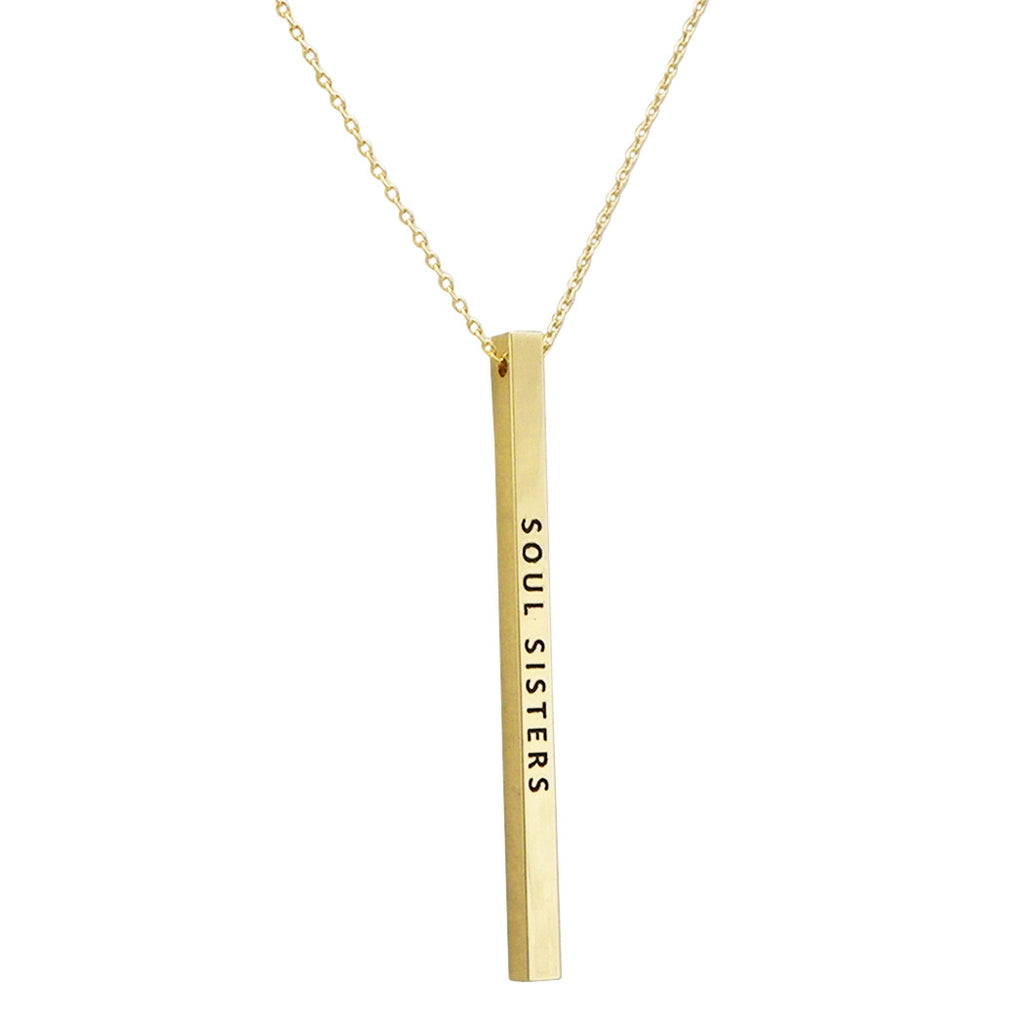 "Gold Tone Vertical Bar Necklace ""Soul Sisters"""