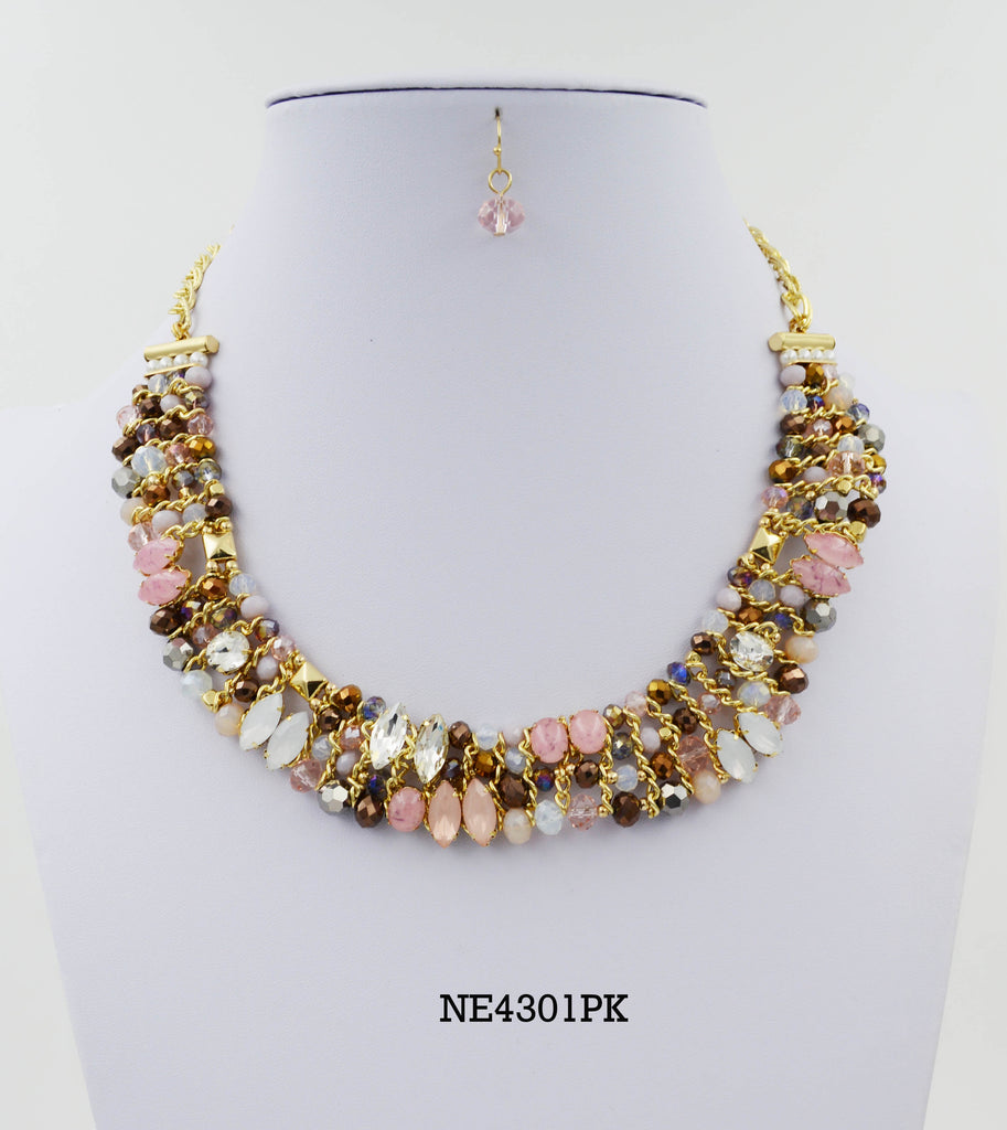 Crystal Bead and Stone Statement Collar Necklace Set