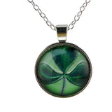 Lucky Shamrock Cabochon Pendant Charm Necklace