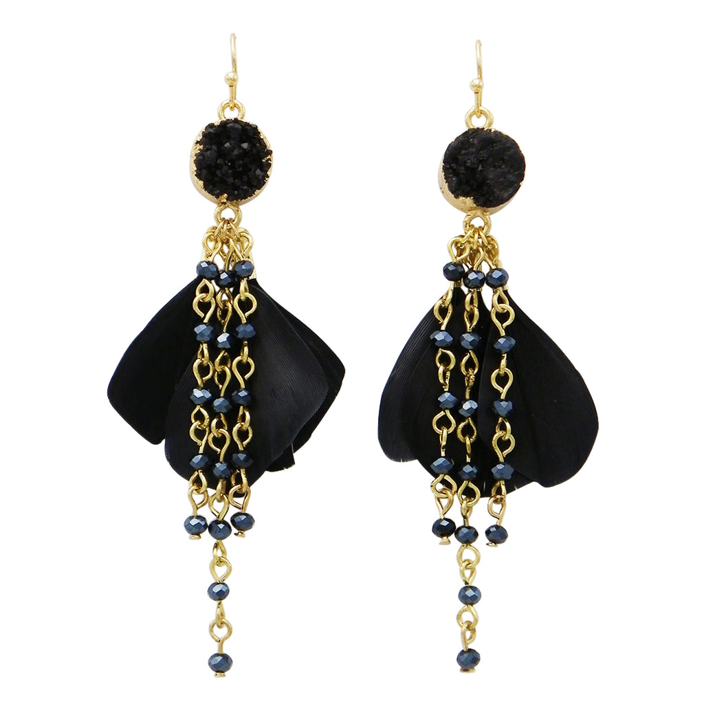 Jet Black Natural Druzy Stone Feather Fringe Earrings
