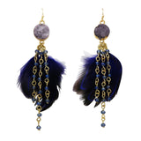 Navy Blue Natural Druzy Stone Feather Fringe Earrings