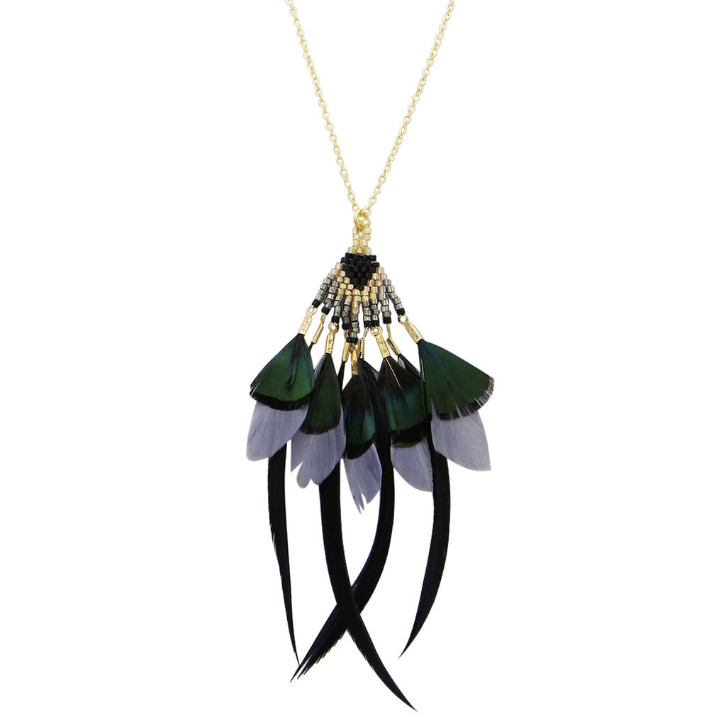 Gold Tone and Black Beaded Feather Fringe Long Statement Necklace