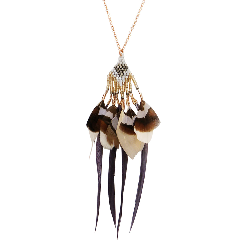Rose Gold and Grey Beaded Feather Fringe Long Statement Necklace